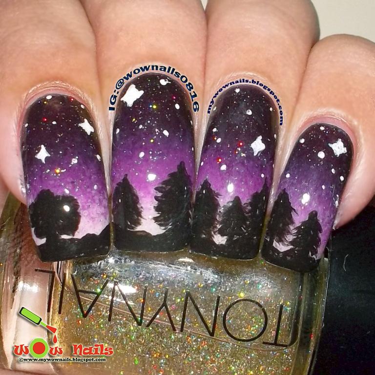 Wow Nails Forest At Night Nail Art