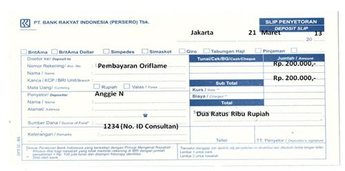 Pembayaran Order dan Pendaftaran Member Oriflame