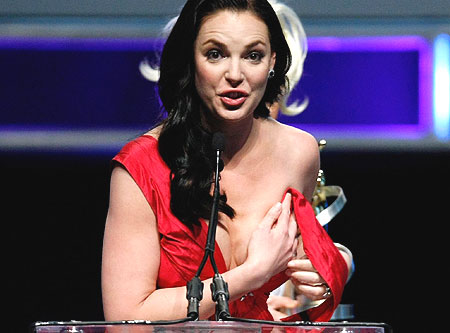 Katherine Heigl Wardrobe Malfunction During ShoWest Awards