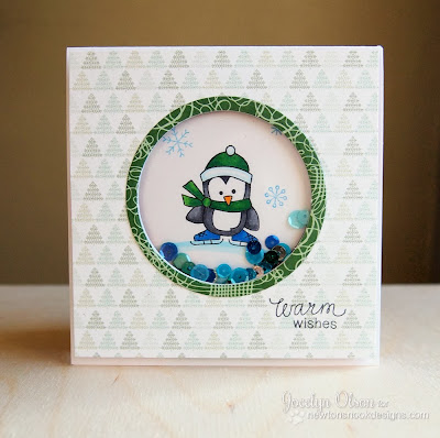 Penguin Shaker card by Jocelyn Olson for Newton's Nook Designs