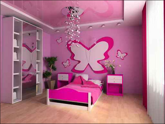 girls bedroom design ideas wall decoration using butterfly that was