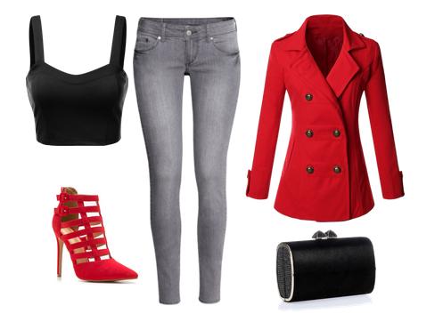 look vaquero gris, bustier crop top negro, sandalia abotinada roja, chaquetón cruzado doble botonadura rojo y clutch negro con brillos