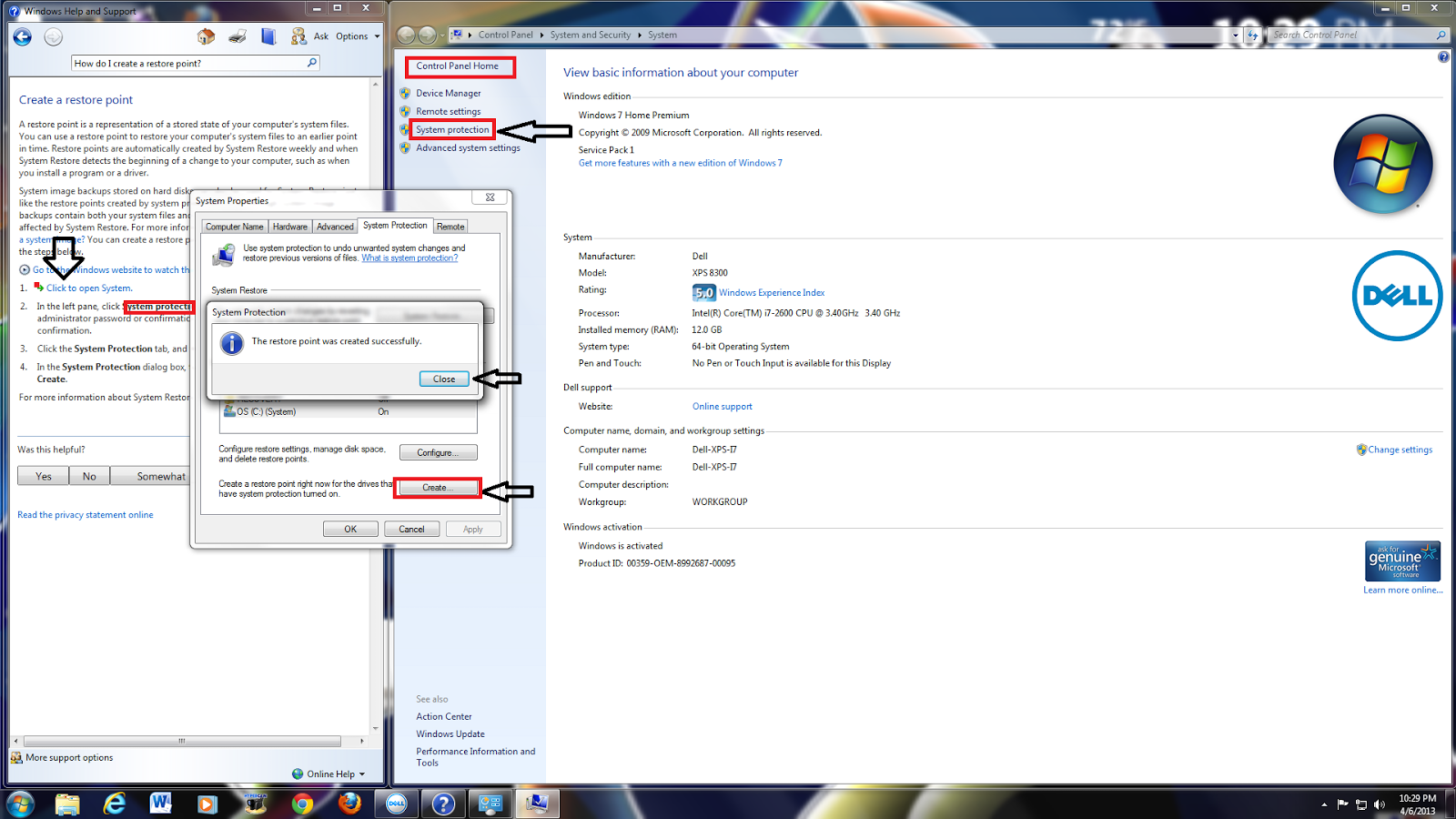 how to create more system restore points