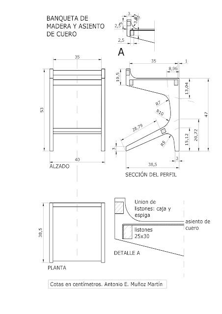 Taller de ebanisteria artistica escuela de arte la palma for Silla escalera plegable planos
