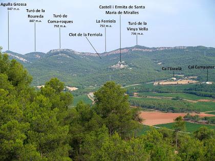 Panoràmica de la Serra de Miralles des del Coll de la Llebre