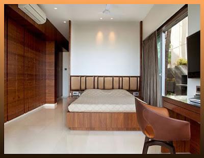 foto desain kamar tidur utama modern minimalis bed