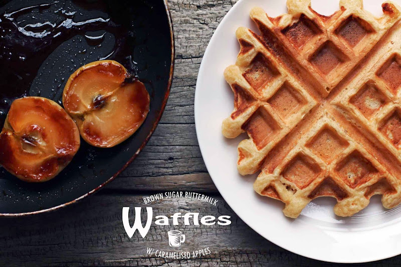 Milk and Honey: Brown Sugar Buttermilk Waffles with Caramelised Apples