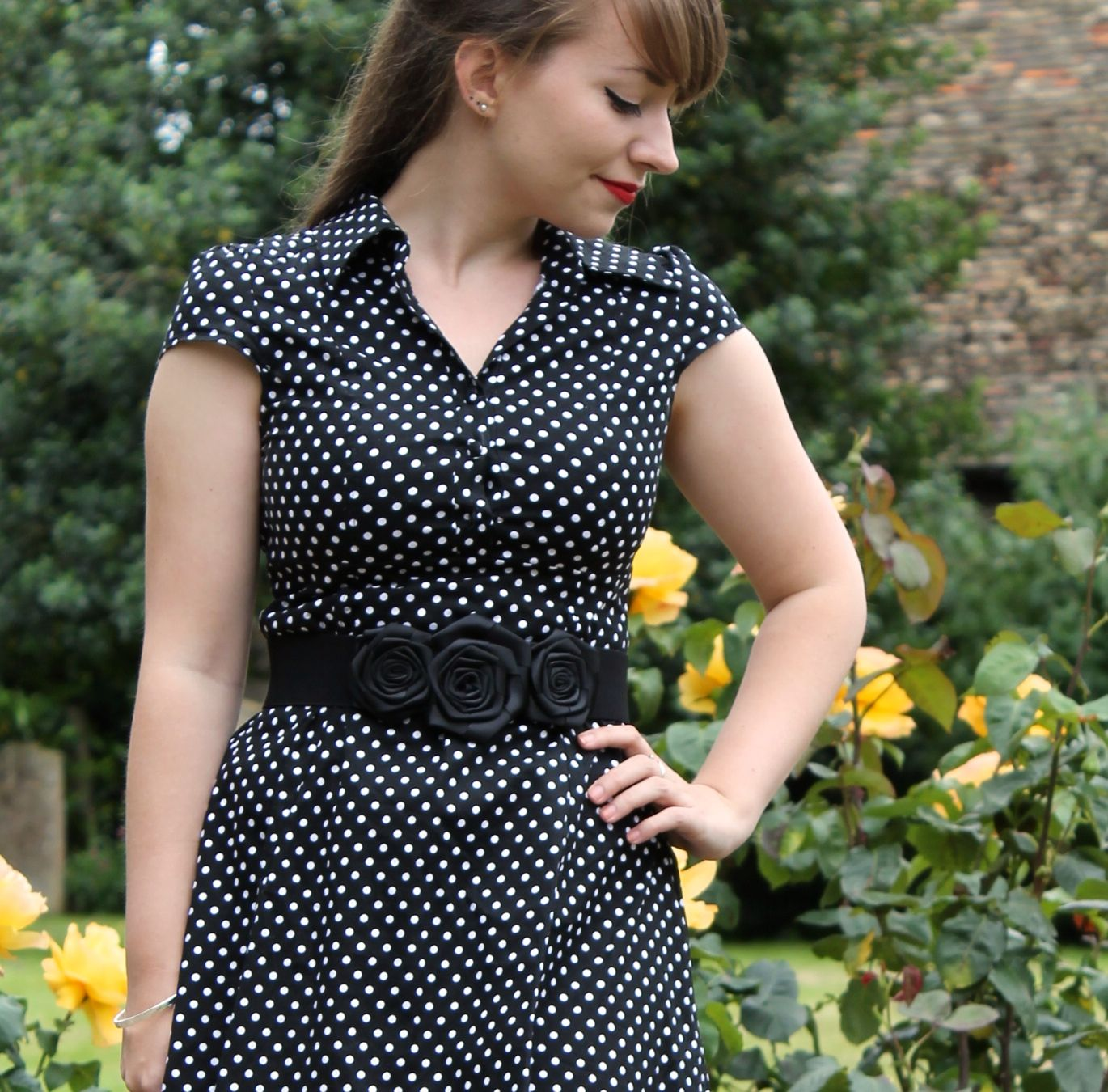 Pin-up style polka dot shirt dress