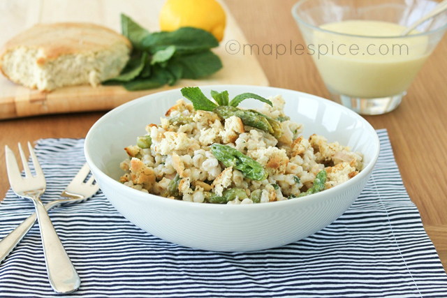 Creamy Lemon Barley Salad with Asparagus and Peppered Feta - vegan.