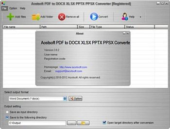 Aostsoft PDF to DOC XLS PPT PPS Converter 3.8.2