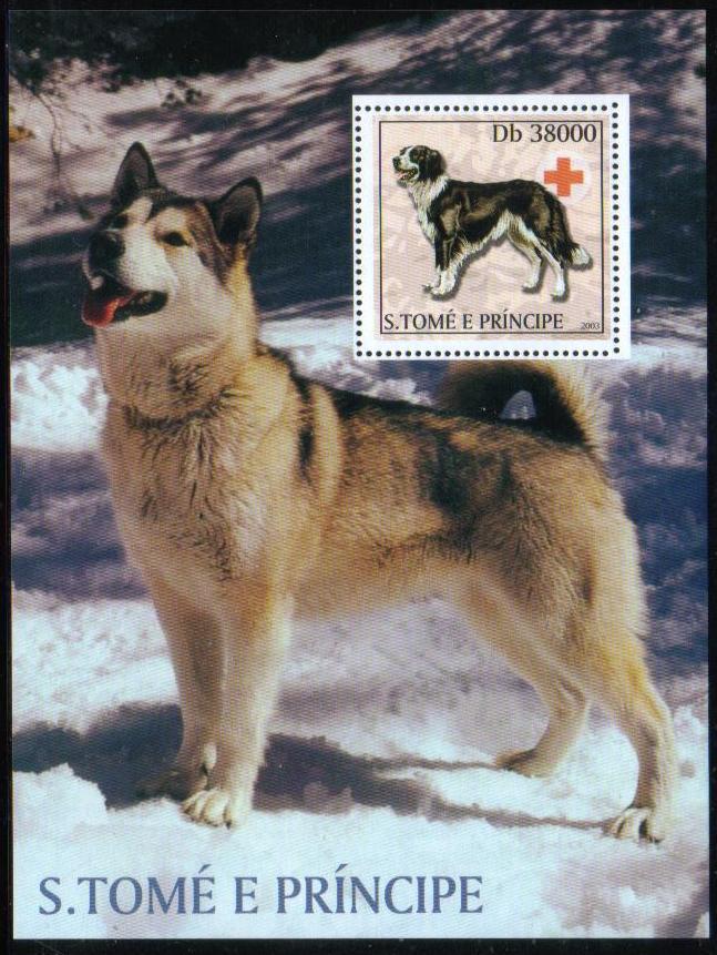 2003年サントメ・プリンシペ民主共和国 ボーダー・コリーとアラスカン・マラミュートの切手シート