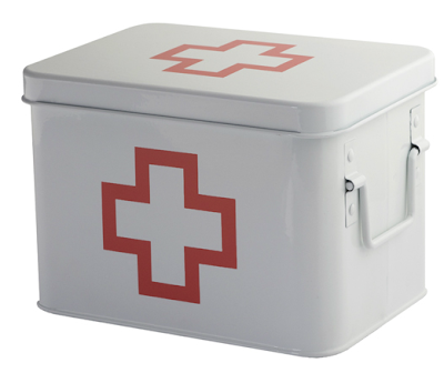 first aid tin; white box, cross outlined in red