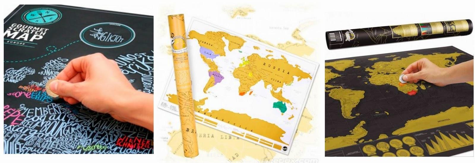 Regalos para viajeros: mapas para rascar
