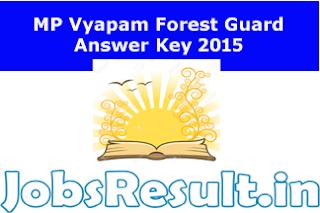 MP Vyapam Forest Guard Answer Key 2015
