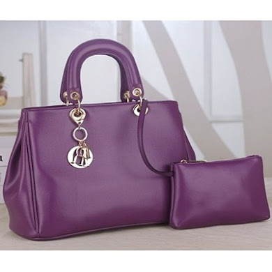 DIOR DESIGNER BAG (2 IN 1 SET) - PURPLE