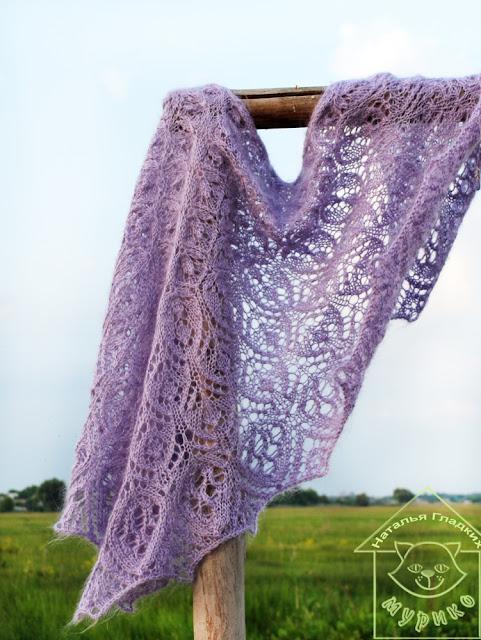 шаль, вязание спицами, мурико, shawl