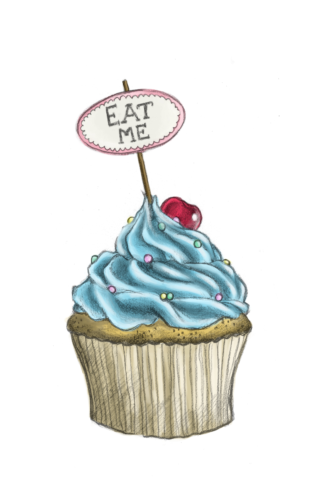 Birthday cupcake line drawing