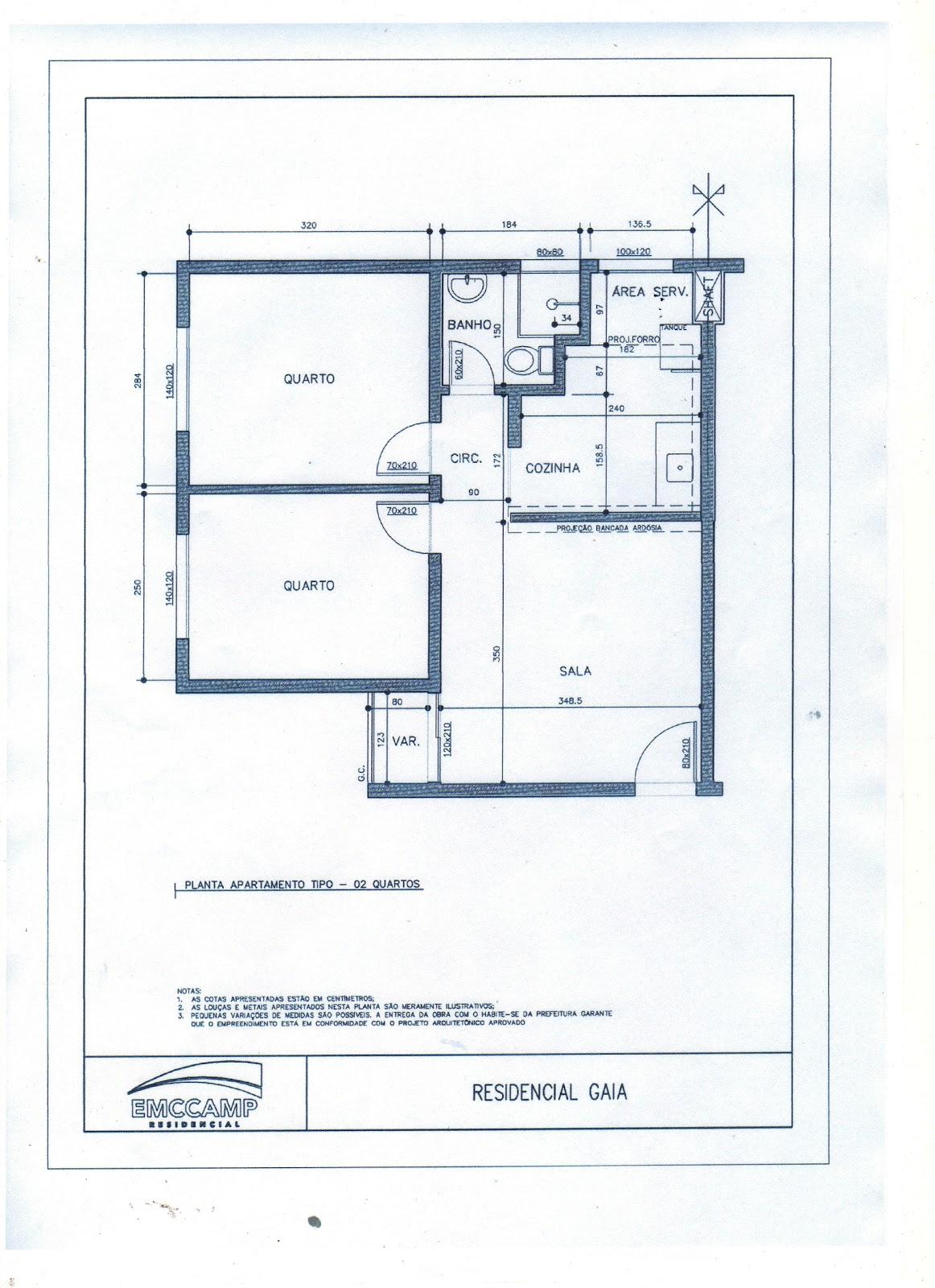 49m2 com dois quartos banheiro sala área de serviço e varanda #4C647F 1162 1600