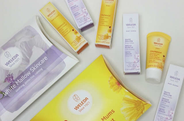 A picture of Weleda Baby Derma White Mallow and Calendula baby skincare products