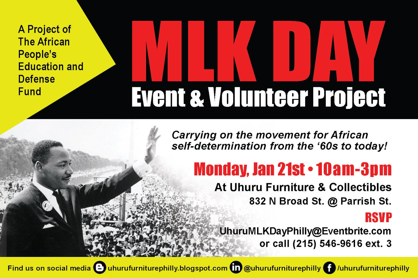 MLK Day Event & Volunteer Project Mon. Jan 21 Register Today!