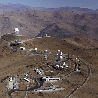 La Silla observatory in the Atacama desert, Chile, houses some of the largest optical telescopes. The 2400m high site has minimal light pollution.