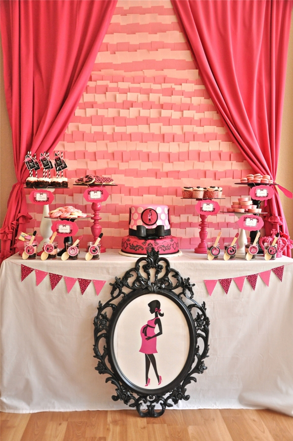 Pink black glam baby shower with printables party ideas party printables - Pink baby shower table decorations ...