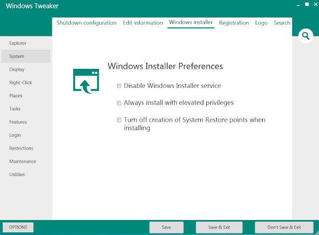 برنامج مجاني للتحكم في نظام التشغيل وتخصيصه بسهولة Windows Tweaker 5.3.1