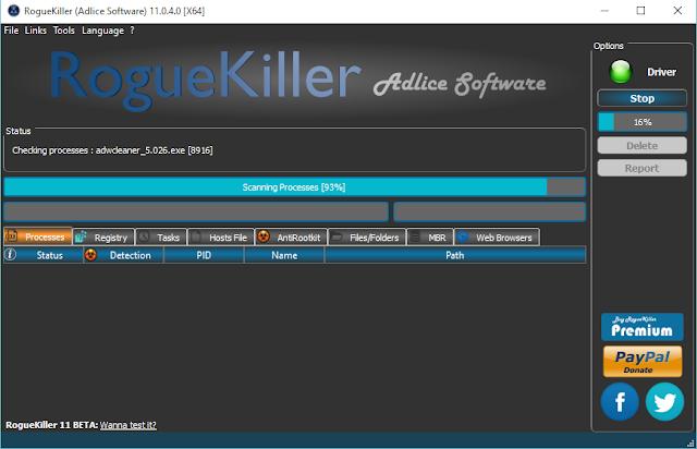 برنامج مجاني لكشف وإزالة جميع اشكال البرامج الضارة وبرامج التجسس RogueKiller
