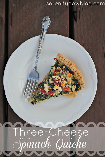 Three-Cheese Spinach Quiche Recipe, from Serenity Now