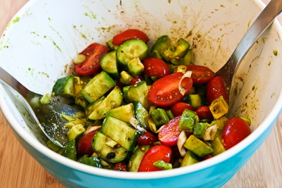 Not-so-Dumb Salad with Cucumbers, Tomatoes, Onions, Avocado, and Balsamic Vinegar found on KalynsKitchen.com