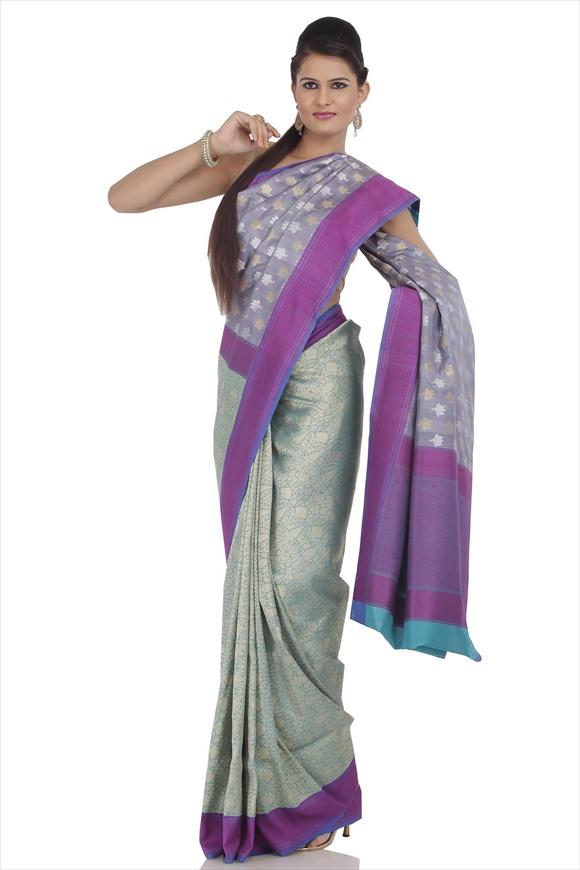 Persian Violet Tassar Banarasi Saree