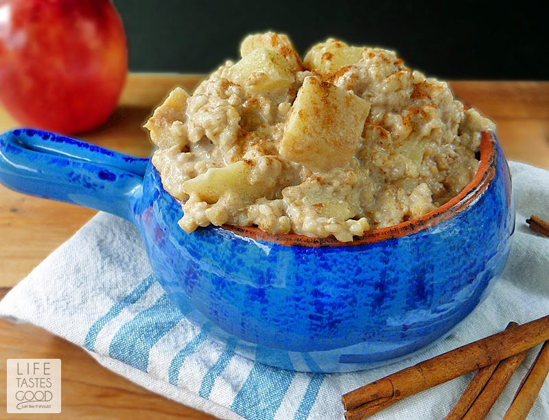 Slow Cooked Apple Pie Oatmeal | by Life Tastes Good is a comforting mix of apples, steel cut oats, milk, cinnamon, and a touch of brown sugar. #SundaySupper #SlowCooker