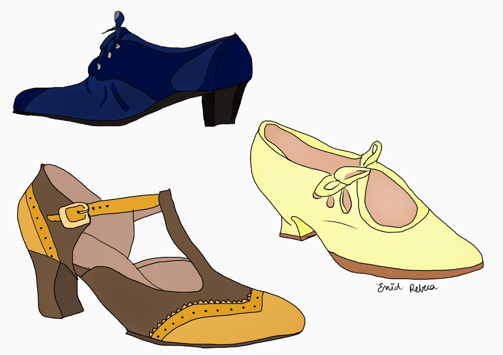 shoes fashion 1920 20s años 20 oxfords T-correas brillos shine dibujo paint digital