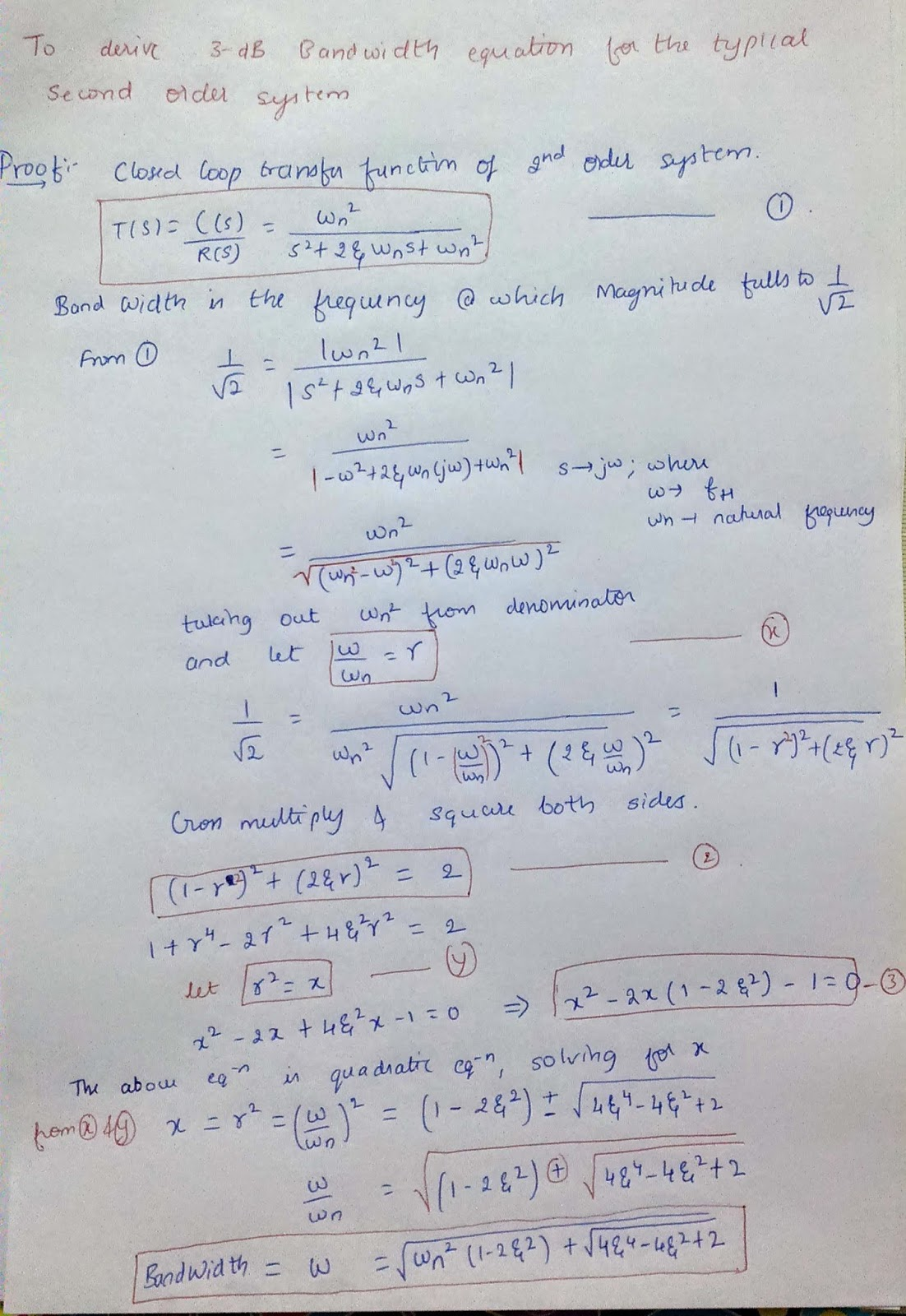 CODES: Band Width of a typical second order system (Control System ...