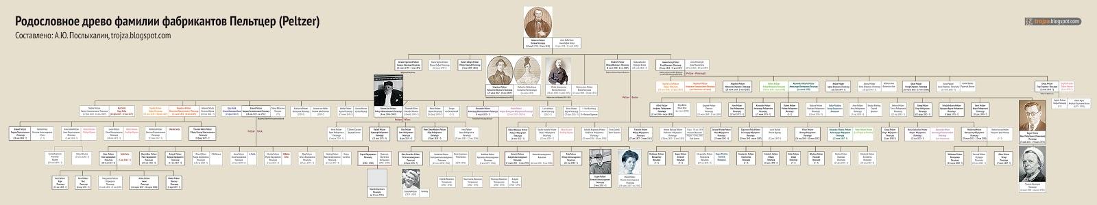 Родословное древо семьи фабрикантов Пельтцер (Peltzer) .