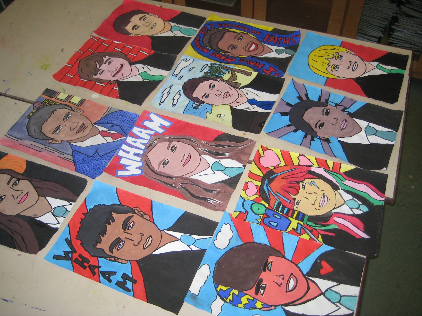 Student Artwork: Year 9 Pop Art Self Portraits
