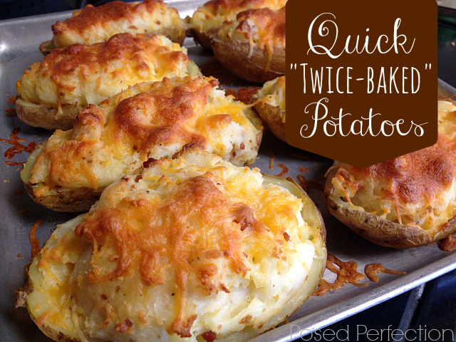 "These Quick ""Twice-Baked"" Potatoes start off in the microwave for a super fast side dish"