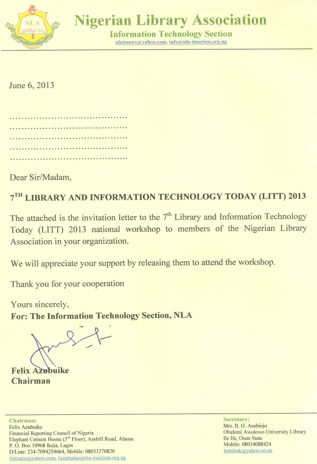 INVITATION TO LITT 2013 NIGERIAN LIBRARIES EVOLVING IN NEW