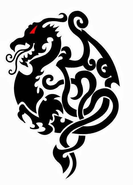 Dragon tribal wings tattoo stencil