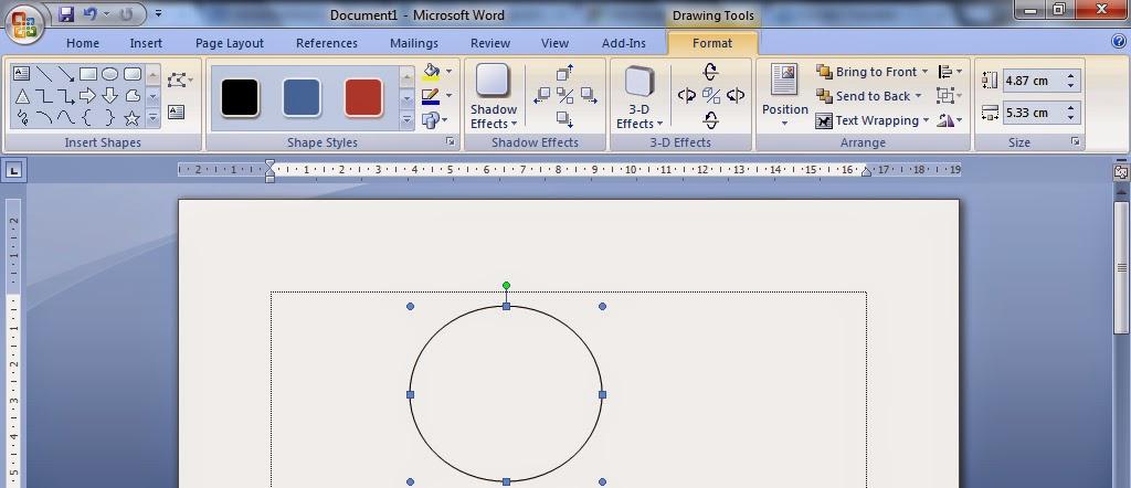 Cara membuat shape dan menambahkan text pada shape di ms