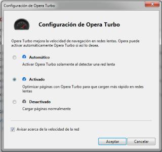 Configurar Opera Turbo