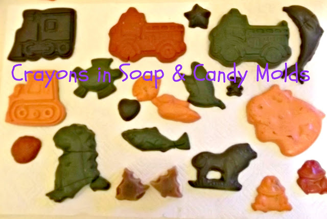 How to make and melt fun crayon shapes in molds preschooler activity.