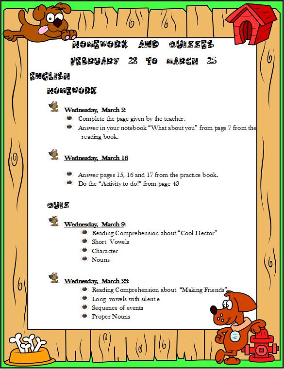 english homework for kids