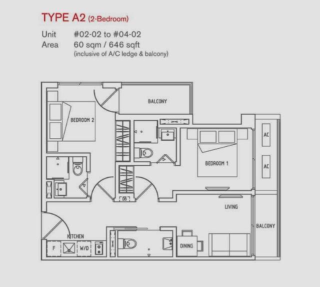 8 Farrer Suites 2 Bedrooms Floor Plan