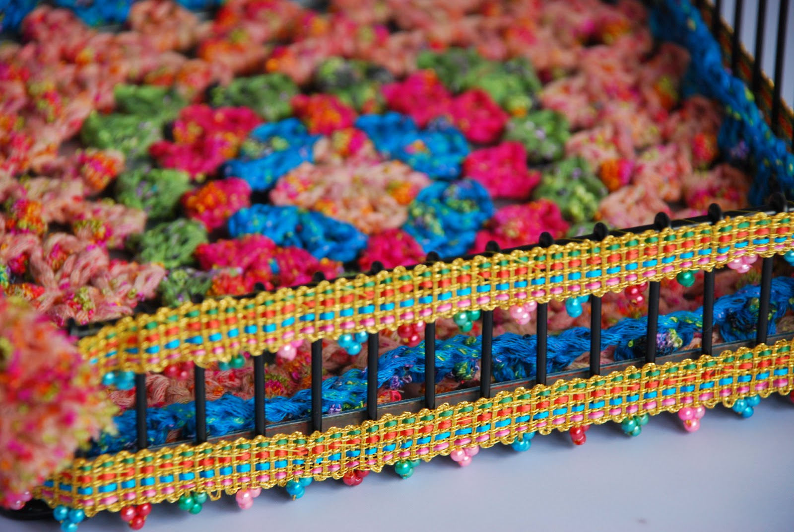 close up image of colourful beaded trim