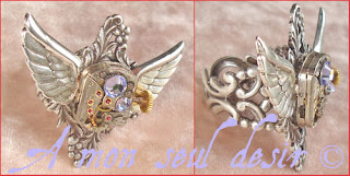 Bague Steampunk Victorien ailes wings montre mécanique finger ring
