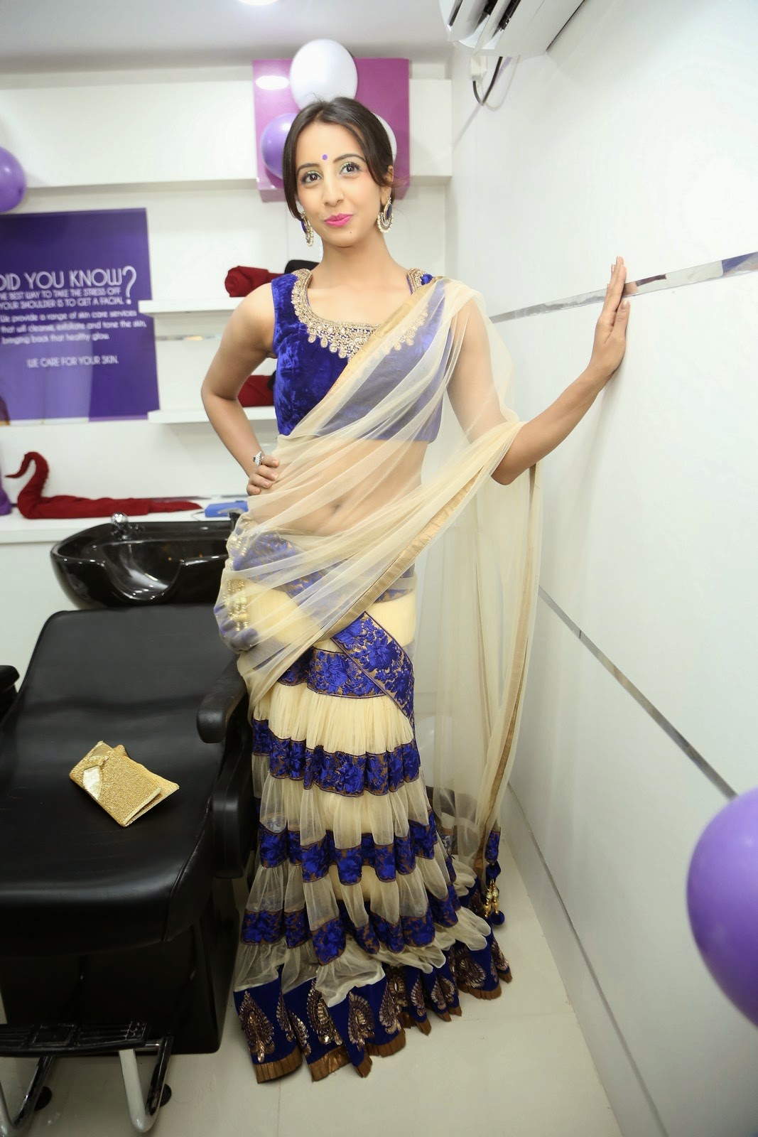 Sanjjanaa in half saree Photos