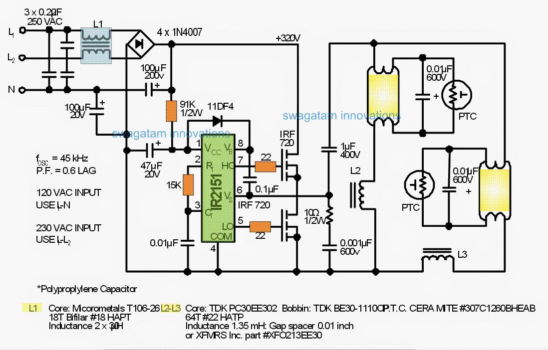 Diagram Fluorescent Lamp Electronic Ballast 2 Control Circuit Circuit Diagram
