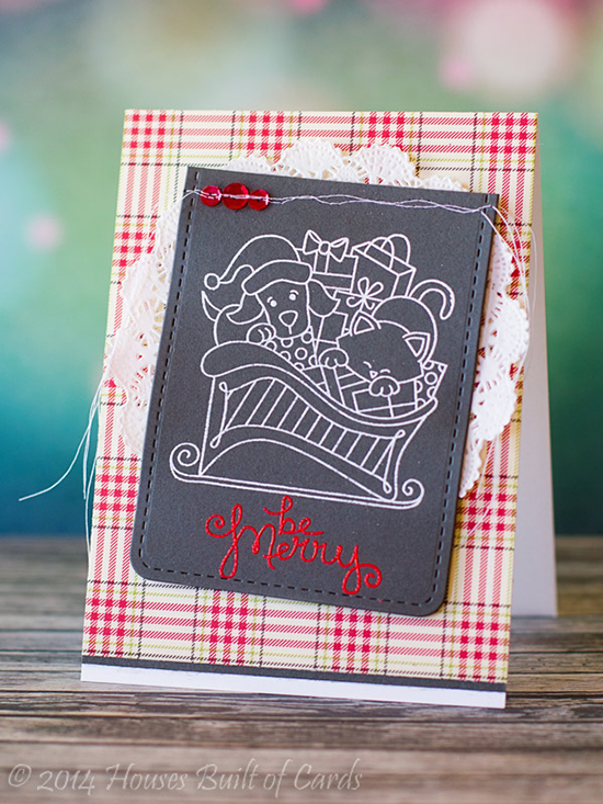 Cat and Dog in Sleigh Chalkboard card by Heather Hoffman for Newton's Nook Designs - Christmas Delivery Stamp Set