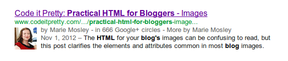 example of Google search result with Authorship markup